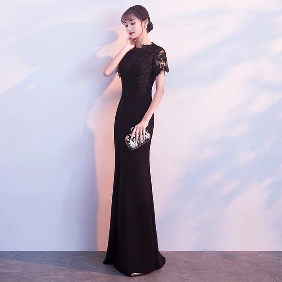Lace Slit Gown - Gowns.sg