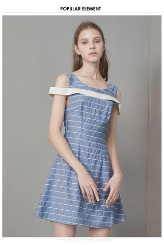 Stripe Cut-out Dress (S/M/L) - Gowns.sg