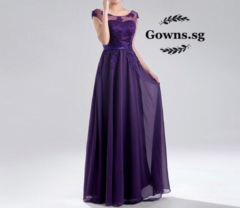 Maisy Illusion Gown in Violet (XL-7XL) - Gowns.sg