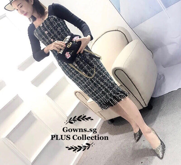 Amare Tweed Button Dress (L Onwards) - Gowns.sg