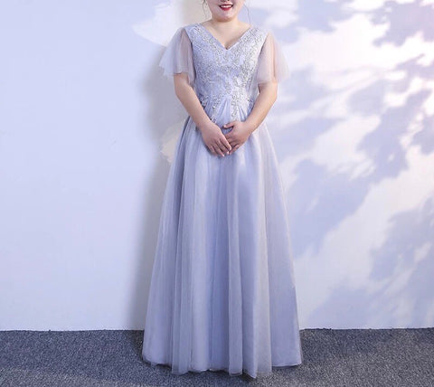 Lilac Tulle Gown (XL-6XL) - Gowns.sg