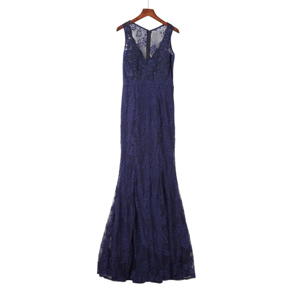 Roche Lace Trim Gown in Navy (S/M/L) - Gowns.sg