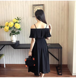 Pleated Strap Maxi Dress (L-5XL) - Gowns.sg