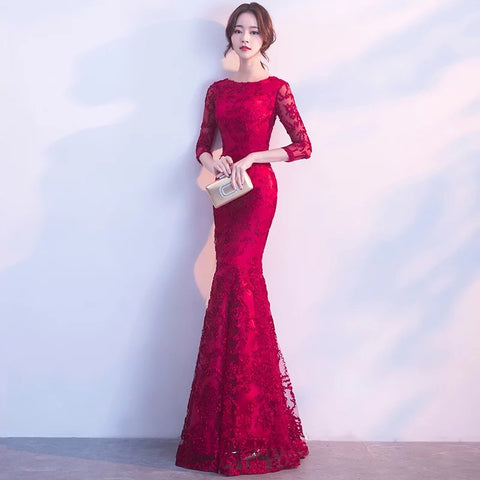 Sleeved Mermaid Gown
