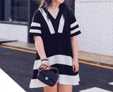Geometric Stripes Dress (XL/XXL/3XL) - Gowns.sg