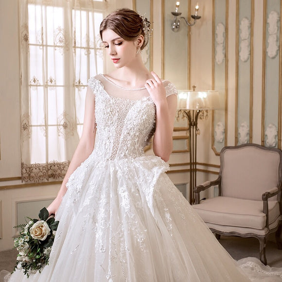 Cambridge Illusion Neckline Wedding Gown - Gowns.sg