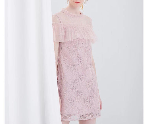 Chest Ruffle Lace Dress in Blush (XS-L) - Gowns.sg