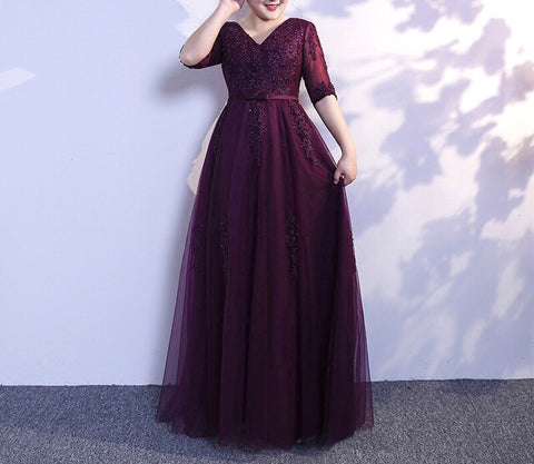 Illusion Plus Gown in Maroon (XL-6XL) - Gowns.sg