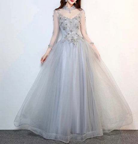 <CS116>Mandarin Collar Evening Gown - Gowns.sg