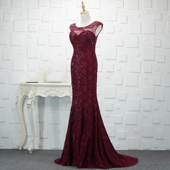 Maroon Lace Gown (S-4XL) - Gowns.sg