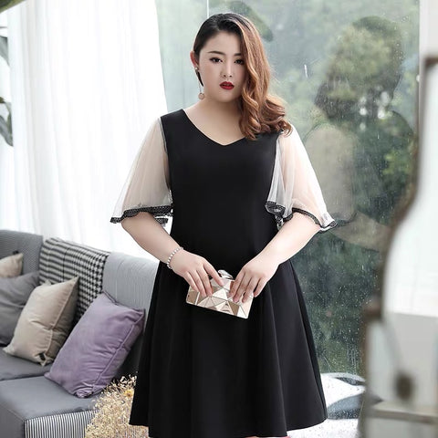 Classic Sleeves Black Plus Dress (3XL Upwards)