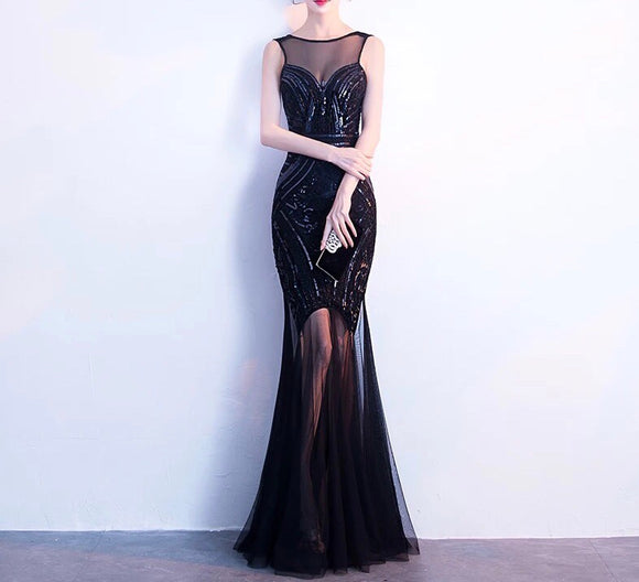 SEQUINNED CONTRAST HEM GOWN In Black (S-XXL) - Gowns.sg
