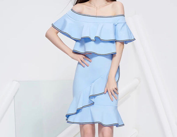 Soren Ruffle Lining Dress (S,M,L) - Gowns.sg