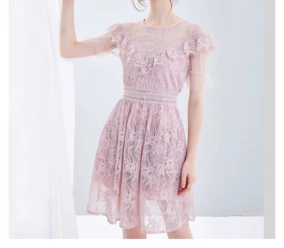 Diagonal Ruffle Bust Dress in Lace (XS-L) - Gowns.sg