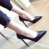 Weaved Leather Heels (More Color) - Gowns.sg