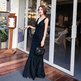 Plunging Maillot Dress - Gowns.sg