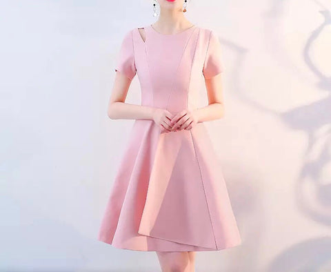 Folded Hem Dress in Light Rose (S-XL) - Gowns.sg