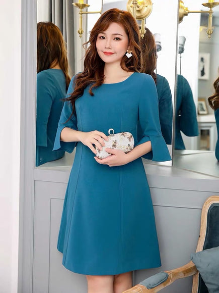 POLLY Teal Work Dress - Gowns.sg