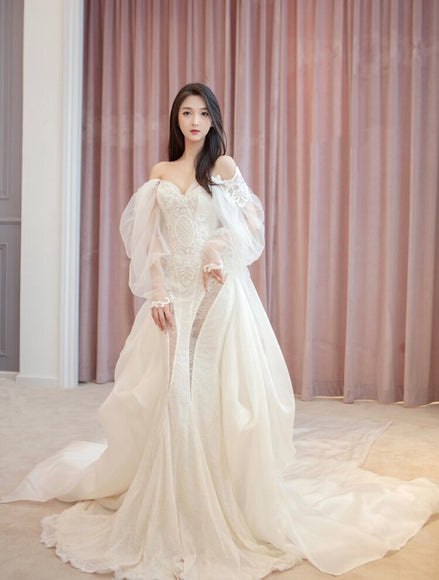 Mathilde Lace Off Shoulder Gown