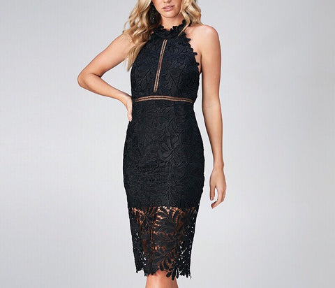 Lace Halter Dress - Gowns.sg