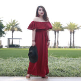 Off Shoulder Maxi in Wine (XL-4XL) - Gowns.sg