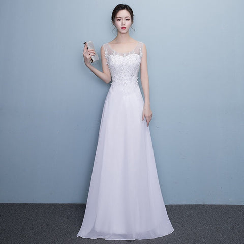<WED023>Belle Flare Gown With Detail Mesh Back - Gowns.sg