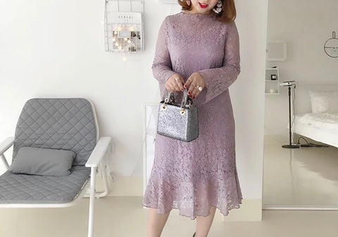 October Lace Plus Dress (L-4XL) - Gowns.sg