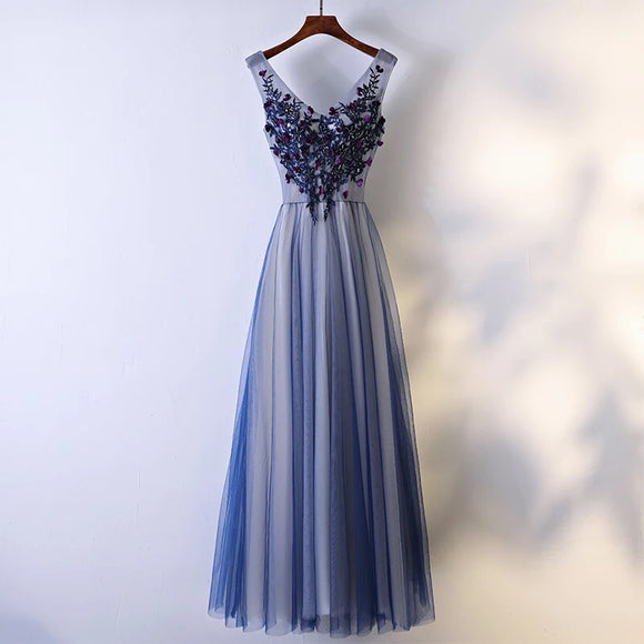 Purple Embellishments Evening Gown - Gowns.sg
