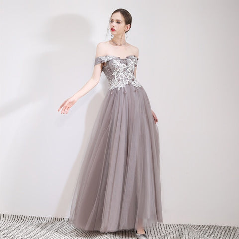 Exquisite Shoulders Flowy Gown - Gowns.sg
