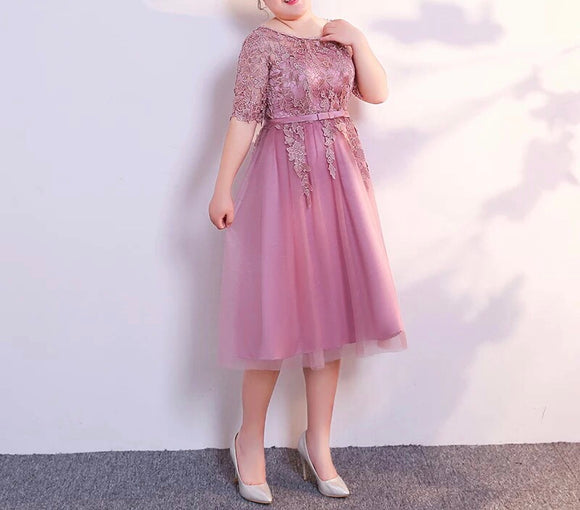 Dusty Pink Lace Plus Gown (XL-6XL) - Gowns.sg