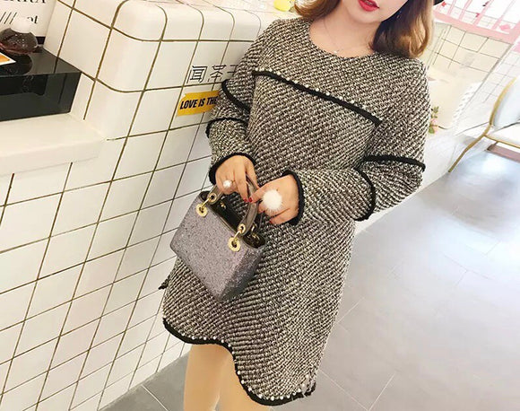 Panel Plus Tweed Dress (L-3XL) - Gowns.sg