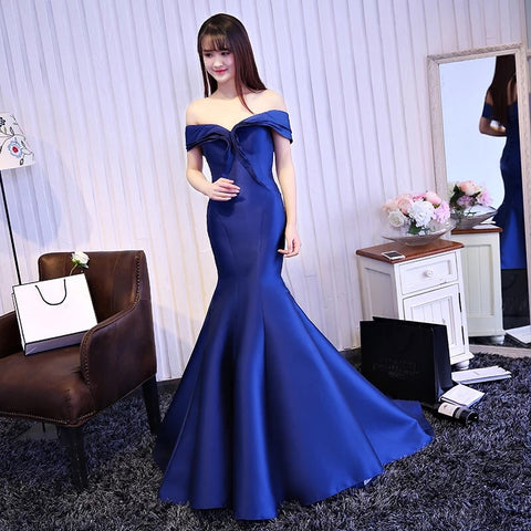 <best><EG042>Fit For A Queen Gown in Cobalt - Gowns.sg