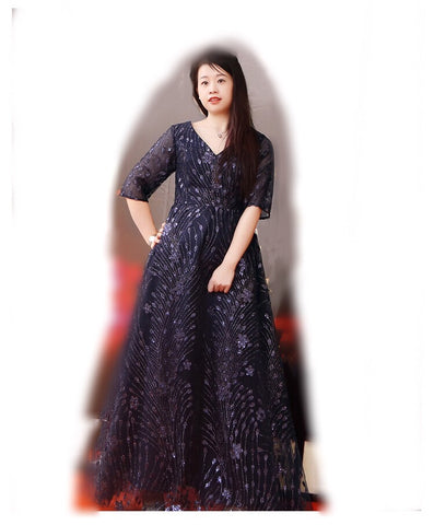Patterned Sequin Gown (XL-10XL) - Gowns.sg