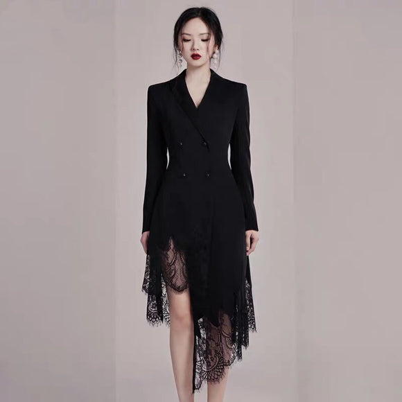ROCHE Blazer Lace Hem Dress - Gowns.sg