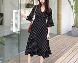Polka Wrap Plus Dress in Black (XL-5XL) - Gowns.sg
