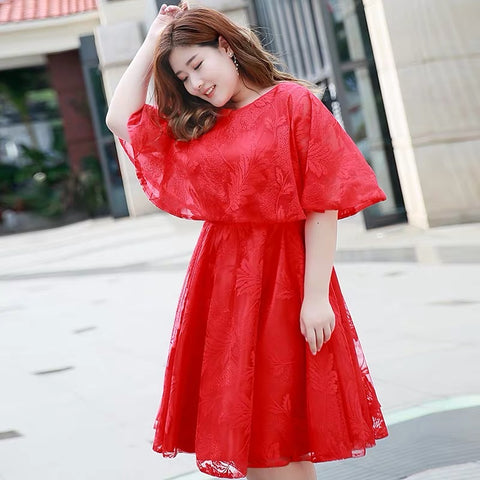 Cape Flare Plus Dress - Gowns.sg