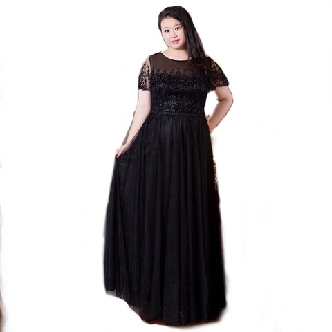 Posh Lace Plus Black Gown (XL-10XL) - Gowns.sg