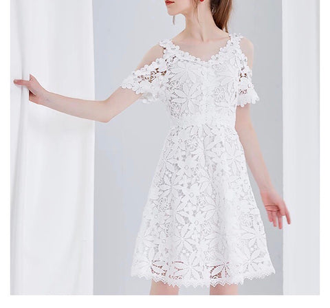 Floral Lace Cut Out Dress in White (XS-L) - Gowns.sg
