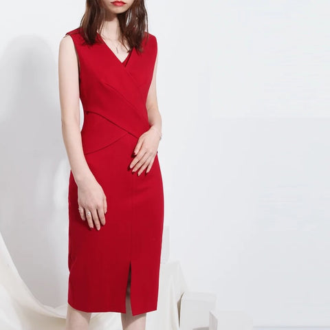 Sleeveless Centre Slit Dress (S-XL)
