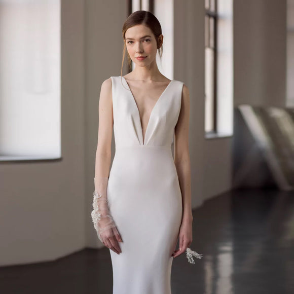Mae Plunging Neckline Gown - Gowns.sg
