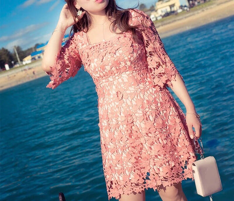 Floral Lace Plus Dress (L-3XL) - Gowns.sg