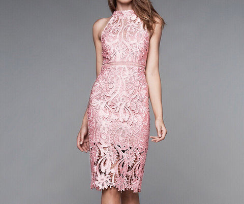 Lace Halter Dress in Pink - Gowns.sg