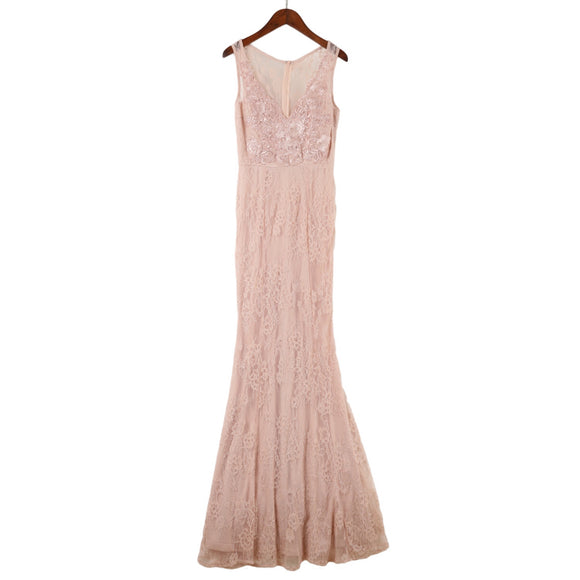 Roche Lace Trim Gown in Blush (S/M/L) - Gowns.sg
