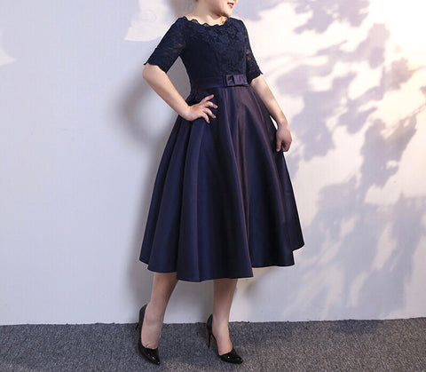 Lace Bodice Gown in Navy (L-6XL) - Gowns.sg