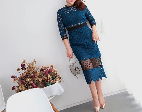 Rich Lace Dress (L-4XL) - Gowns.sg