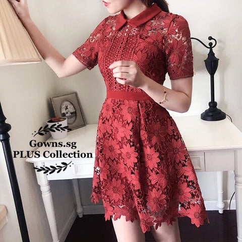 Andie Floral Lace Dress (L Onwards, RESTOCKED) - Gowns.sg