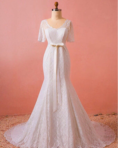 Zania Lace Sleeve Gown (XL-7XL) - Gowns.sg