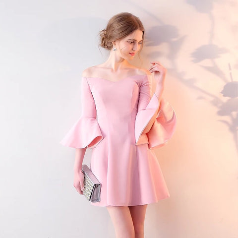 <EG059>Karen Fluted Sleeves Mini Gown - Gowns.sg