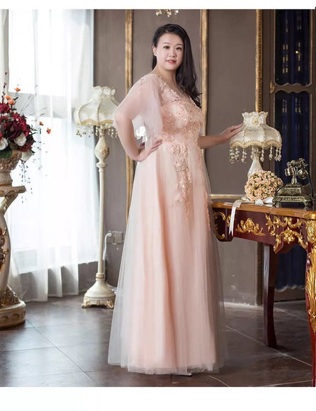 Peachy Tulle Plus Evening Gown - Gowns.sg