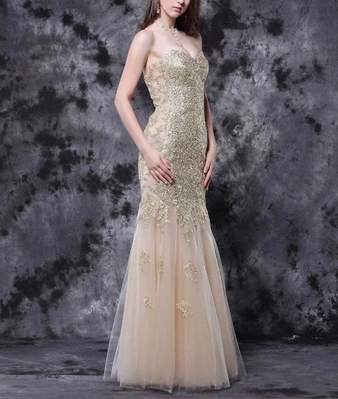 Strapless Fit and Flare Gown